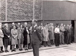 Staff Of Leith Roperie Outdoors During Visit From Henry Robb c.1946