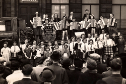 Ina Purves And Her Accordion Band On Float Outside Branch Of Royal Bank Of Scotland c.1941
