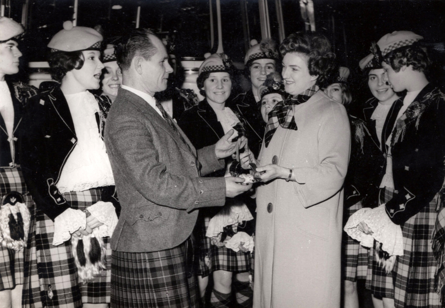 Jean Carnie With Her School Of Dance Pipe Band Being Presented With Gift c.1963
