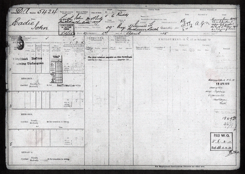 Service Record Of Royal Naval Reservist On Minesweeper 1916