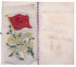 Inside Of Embroidered First World War Greetings Card c.1915