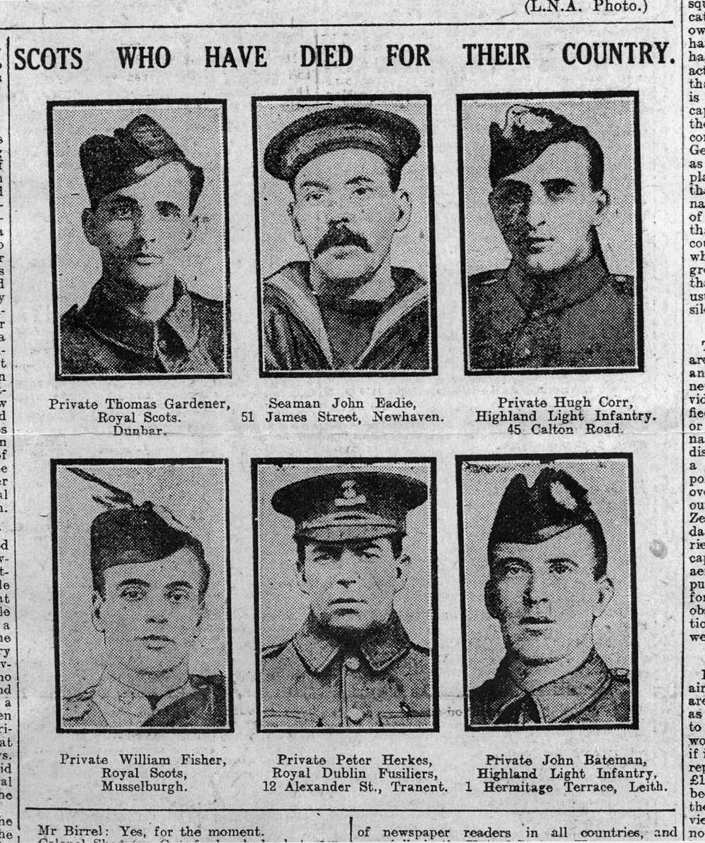 Contemporary Newspaper Cutting Of Scots Killed In Action 1916