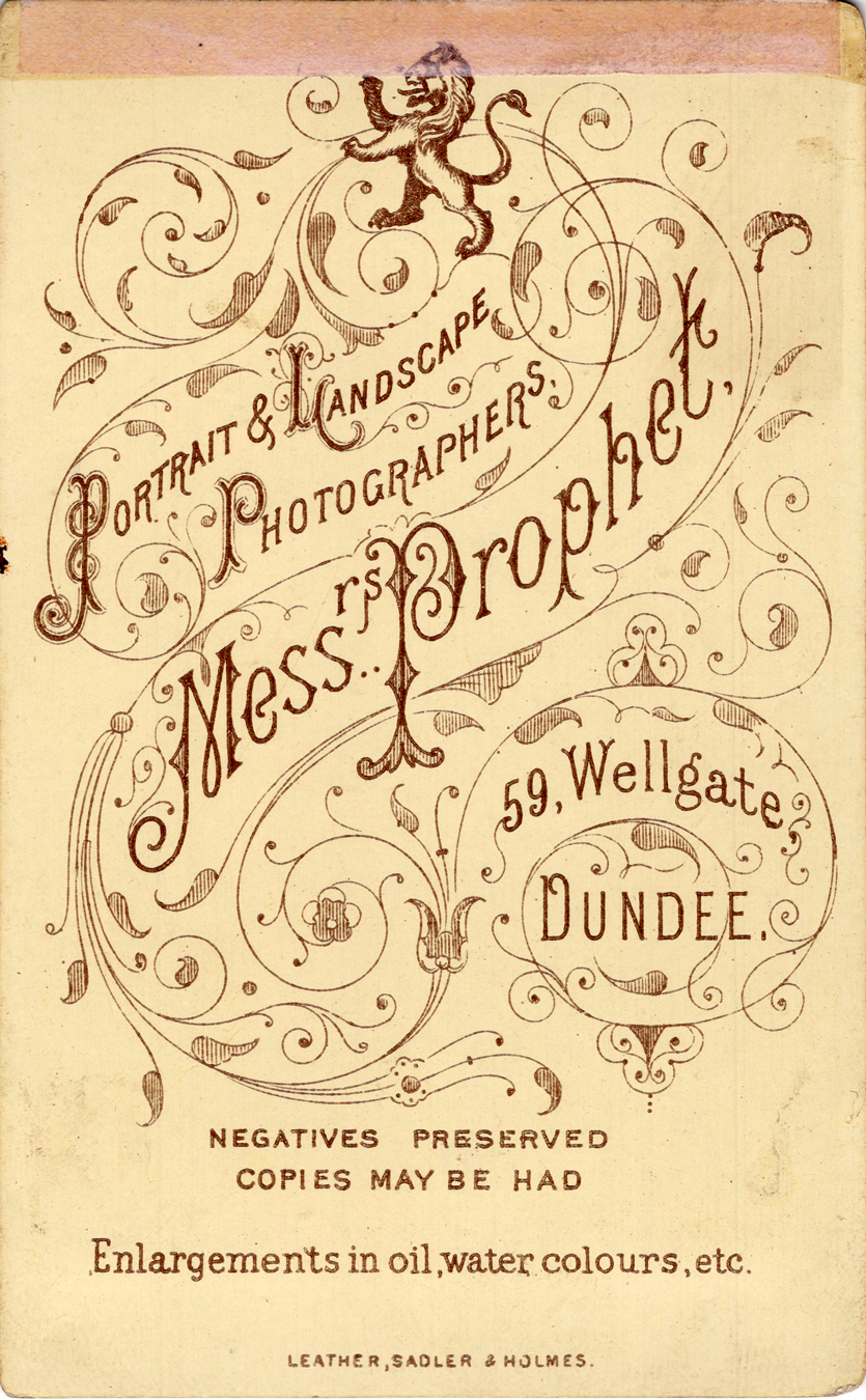 Reverse Of Photographer's Cabinet Card c.1890