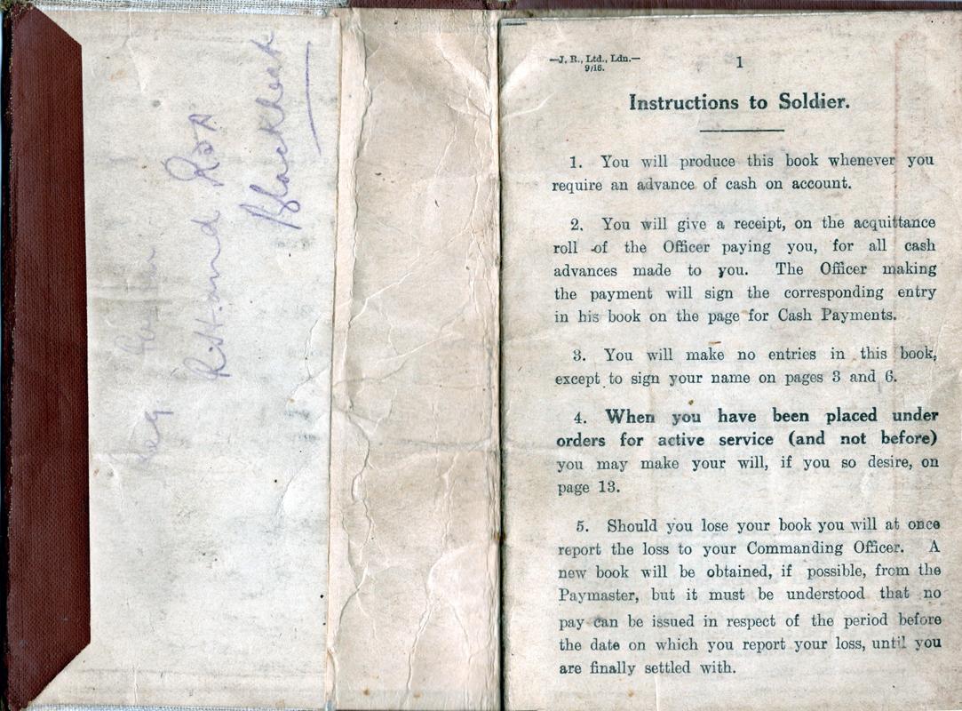 Soldier's Pay Book First World War 1917